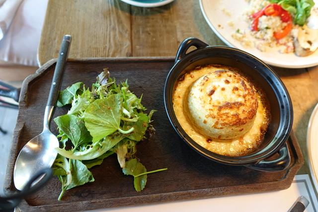 Goat cheese souffle at Quince - brunch in Bangkok, Thailand