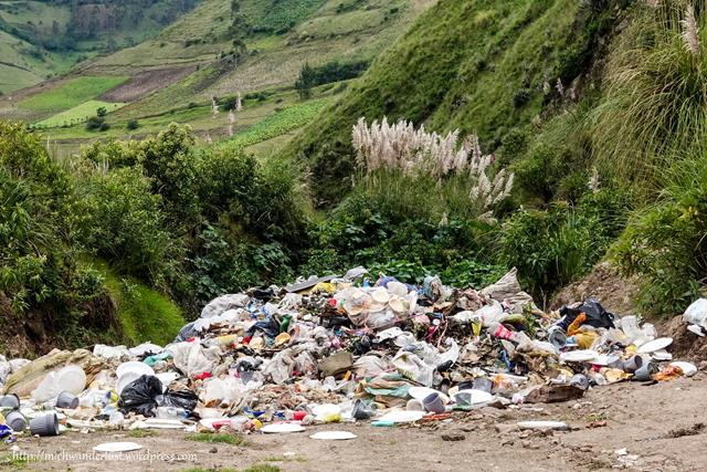 mountain of rubbish on the road from Guantualo to Isinlivi | Quilotoa Loop | Ecuador | hiking in Ecuador