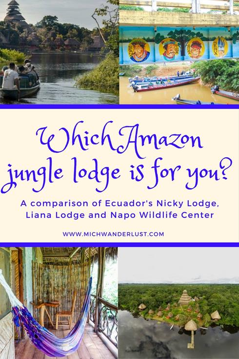 Having trouble deciding which is the best Amazon jungle lodge in Ecuador for you? Here's a detailed comparison of 3 popular lodges: Nicky Lodge, Liana Lodge and Napo Wildlife Center to help | MichWanderlust