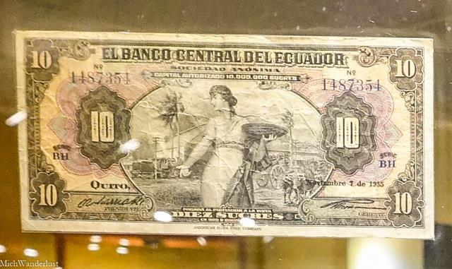 Old sucre note, Museo Pumapungo, Cuenca, Ecuador